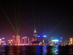 Light show over Hong Kong Harbour
